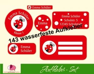 Schulaufkleberset  | Marienkäfer - 143 Aufkleber - personalisierbar | Namensaufkleber, Schuletiketten   - Handarbeit kaufen