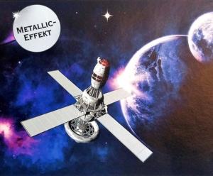 Metallic Wandbordüre | Weltall - 18 cm Höhe | Vlies Bordüre mit Raumstationen, Raumschiffen, Planeten und Sternen - edler Silberglanz - nicht selbstklebend  - Handarbeit kaufen
