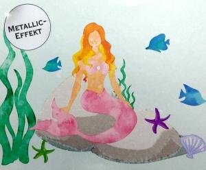 Metallic Wandbordüre | Meerjungfrau - 18 cm Höhe | Vlies Bordüre mit märchenhafter Unterwasserwelt - edler Silberglanz - nicht selbstklebend   - Handarbeit kaufen