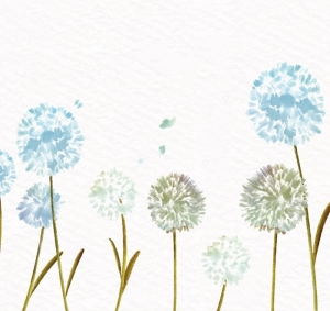 Wandbordüre - selbstklebend | Watercolor Pusteblume - blau - 20 cm Höhe | Vlies Bordüre mit romantischem floralem Muster im Aquarell Stil - Handarbeit kaufen