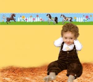 Kinderbordüre - selbstklebend | Pony - 18 cm Höhe | Vlies Bordüre mit Ponys Blumen und Schmetterlngen - Handarbeit kaufen
