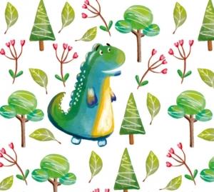 Kinderbordüre - selbstklebend | Dino im Wald - Watercolor - 20 cm Höhe | Vlies Bordüre mit netten Dinos in Aquarellart  - Handarbeit kaufen