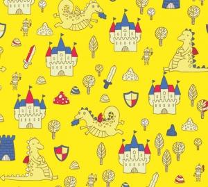 Kinderbordüre - selbstklebend | Drachen und Burgen - 20 cm Höhe | Vlies Bordüre mit kleinen Rittern, freundlichen Drachen und Burgen - Handarbeit kaufen