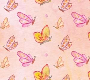 Kinderbordüre - selbstklebend | Kleine Schmetterlinge - Watercolor - 18 cm Höhe | Wandbordüre mit vielen zarten Schmetterlingen und Blüten - Handarbeit kaufen