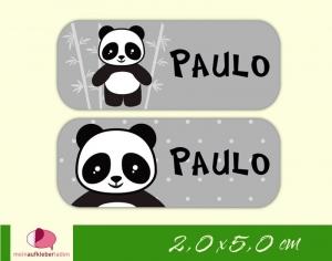 52 Namensaufkleber  | Panda - grau | eckig - personalisierbar | Namensetiketten, Schuletiketten   - Handarbeit kaufen