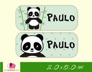 52 Namensaufkleber  | Panda - grün | eckig - personalisierbar | Namensetiketten, Schuletiketten - Handarbeit kaufen