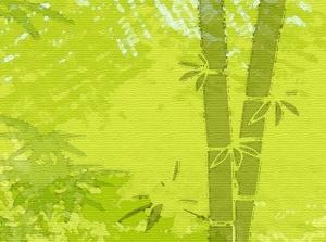 Wandbordüre - selbstklebend | Bambus - Watercolor - 23 cm Höhe | Vlies Bordüre mit Strukturpapier-Optik, in Aquarellart  - Handarbeit kaufen