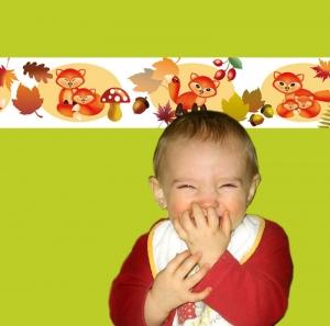 Kinderbordüre - selbstklebend | Kleiner Fuchs - 15 cm Höhe | Vlies Bordüre mit Füchsen, Herbstblättern, Fliegenpilzen, Eicheln und Hagebutten - Handarbeit kaufen