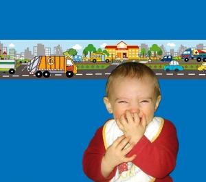 Kinderbordüre - selbstklebend | Fahrzeuge in der Stadt - 18 cm Höhe | Vlies Bordüre mit Müllauto, Tanklaster, Kehrfahrzeug - Handarbeit kaufen