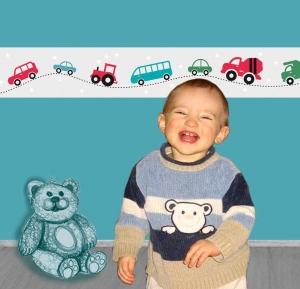 Kinderbordüre - selbstklebend | Bunte Autos & Sternchen - 15 cm Höhe | Vlies Bordüre mit bunten Fahrzeugen auf dezenter Sternchenbordüre - Handarbeit kaufen