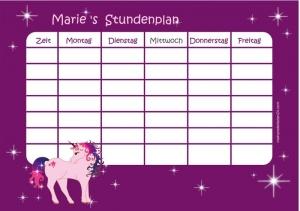 selbstklebender Stundenplan | Fantasy Einhorn lila - mit Name personalisierbar - wiederbeschreibbar - repositionierbar   - Handarbeit kaufen