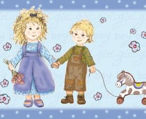 Kinderbordüre - selbstklebend   Geschwisterliebe -  18 cm Höhe   Vlies Bordüre mit Schwesterchen und Brüderchen - Handarbeit kaufen