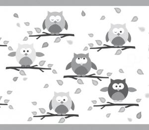 Kinderbordüre - selbstklebend | Kleine Eulen mini - grau - 12 cm Höhe | Vlies Bordüre mit lustigen kleinen Eulen und Herbstblättern - Handarbeit kaufen