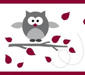 Kinderbordüre - selbstklebend | Kleine Eulen - rot grau - 12 cm Höhe | Vlies Bordüre mit lustigen Eulen und Herbstblättern  - Handarbeit kaufen
