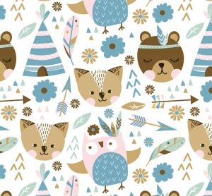 Kinderbordüre - selbstklebend | Indianer Bär und Freunde  - 18 cm Höhe | Vlies Bordüre mit niedlichen Bären, Eulen,Tipis, Federn,  - Handarbeit kaufen