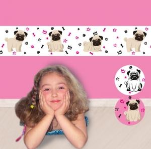 Kinderbordüre - selbstklebend | Hunde Mops -  18 cm Höhe | Vlies Bordüre mit niedlichen Möpsen, Kronen, Knochen, Sternchen u. Herzchen - Handarbeit kaufen