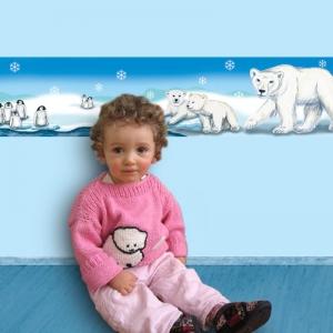 Kinderbordüre - selbstklebend | Polarwelt Tiere - 11,5 cm Höhe | Vlies Bordüre mit Eisbären, Pinguinen, Babyrobbe - Handarbeit kaufen