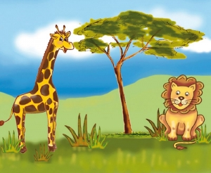 Kinderbordüre - selbstklebend | Afrika Tiere - 23 cm Höhe | Vlies Bordüre mit Elefanten, Giraffe, Löwe und Affe