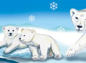 Kinderbordüre - selbstklebend | Polarwelt Tiere - 23 cm Höhe | Vlies Bordüre mit Eisbären, Pinguinen, Babyrobbe