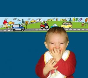 Kinderbordüre - selbstklebend | Fahrzeuge Polizei - 18 cm Höhe | Vlies Bordüre mit vielen Autos und Polizeifahrzeug - Handarbeit kaufen