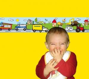 Kinderbordüre - selbstklebend | Autos - 18 cm Höhe | Vlies Bordüre mit vielen Autos und Polizeifahrzeug - Handarbeit kaufen