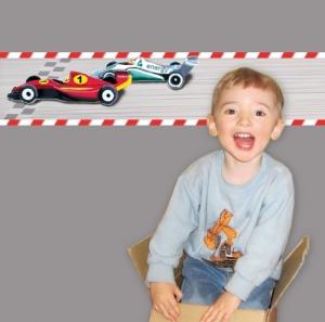 Kinderbordüre - selbstklebend | Autorennen - 18 cm Höhe | Vlies Bordüre mit Startfeld, Rennstrecke und Rennwagen