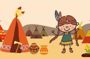Kinderbordüre - selbstklebend | Indianer Kinder - 15 cm Höhe | Vlies Bordüre mit Kinder, Pferde, Tipis, Kakteen, Grand Canyon