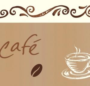 Wandbordüre - selbstklebend | Kaffee - 13 cm Höhe | Vlies Bordüre mit Kaffebohnen und Kaffeetassen - Handarbeit kaufen