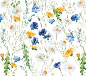 Wandbordüre - selbstklebend   Wiesenblumen - Watercolor - 20 cm Höhe   Vlies Bordüre mit romantischen Kornblumen, Magariten, Löwenzahn, Glockenblumen