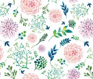 Wandbordüre - selbstklebend | Blüten Dolden - Watercolor - 20 cm Höhe | Vlies Bordüre mit romantischen Blüten, Dolden und Blättern - Handarbeit kaufen
