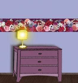 Wandbordüre - selbstklebend   Gartenblumen - Sommergrüße - 24 cm Höhe   Vlies Bordüre mit romantischen Rosen, Wicken, Lavendel und anderen Blumen