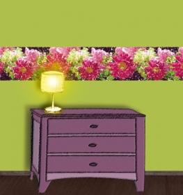 Wandbordüre - selbstklebend | Gartenblumen - Frühlingsgefühle - 24 cm Höhe | Vlies Bordüre mit romantischen Pfingstrosen, Magariten, Frauenmantel - Handarbeit kaufen