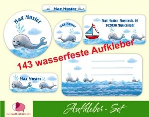 Schulaufkleberset  | Wale - 143 Aufkleber - personalisierbar | Namensaufkleber, Schuletiketten  - Handarbeit kaufen