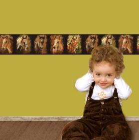 Kinderbordüre - selbstklebend | Kleine Gemälde Fohlen - 16 cm Höhe | Vlies Bordüre handgemalte Motive vom Thüringer Kunstmaler Siegfried Kaufmann  - Handarbeit kaufen