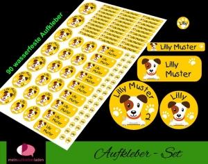 Schulstarterset - 90 Aufkleber | Hund - Jack Russel - gelb - personalisierbar | Namensaufkleber, Schuletiketten  - Handarbeit kaufen