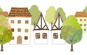 Wandbordüre - selbstklebend | Fachwerkhäuser - 18 cm Höhe | Vlies Bordüre mit idyllischen Häusern und Bäumen - Handarbeit kaufen