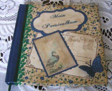 Poesiealbum handgemacht wie aus alten Zeiten Blümchen blau