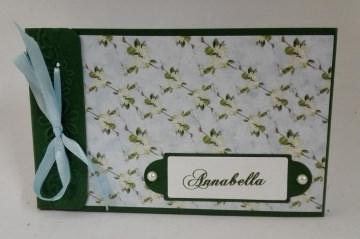 Kleines Gutscheinbuch gefüllt mit 5 Blanko-Gutscheinen und Karte Kirschblüten