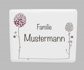 Porzellanschild Klee * Namensschild Türschild oder Hausnummer * personalisierbar mit Ihrem Wunschtext * Dekor eingebrannt bei  870° C * wetter- und frostfest  (Kopie id: 100138008)