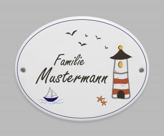 Porzellanschild Leuchtturm * Namensschild Türschild oder Hausnummer * personalisierbar mit Ihrem Wunschtext * Dekor eingebrannt bei  870° C * wetter- und frostfest *