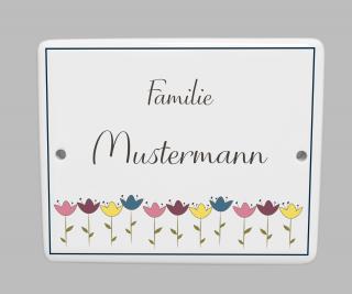 Namensschild Türschild  Hausnummer Porzellanschild Tulpen