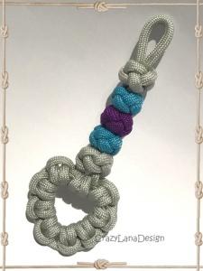 ♡ Schlüsselanhänger mit Herz in grau/türkis/lila ♡