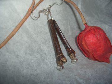 Ohrringe Bambus mit Silber - Handarbeit kaufen