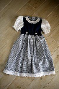 Kinderdirndl Bien, blau/weiß, Gr.98