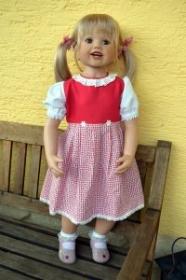 Kinderdirndl Bien, rot/weiß, Gr. 80