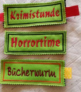 Lesezeichen aus Filz mit Spruch bestickt für Leseratten