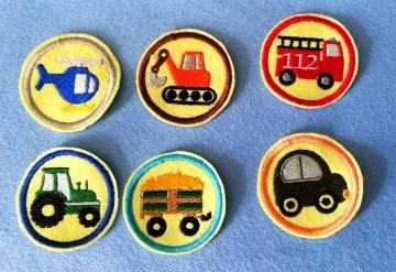Stickapplikation, 6-Set  Buttons zum Aufbügeln - sie verschönern alles und sie sind ein lustiges kleines Geschenk für jeden Anlass