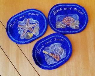 Mugrugs  3-Set Lila Tassenteppich  Tassenuntersetzer handgefertigt aus Filz  - Handarbeit kaufen