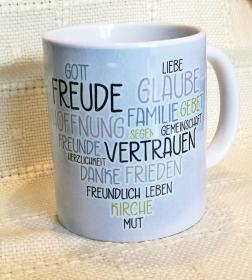 Tasse zur Konfirmation/ Kommunion, individuell    angefertigte Tasse mit christlichen Motiven für jeden Anlass  - Handarbeit kaufen