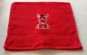 kuschelweiches Handtuch  bestickt mit kleinen Tieren, Blickfang für jedes Bad, reine Baumwolle,rot mit Esel